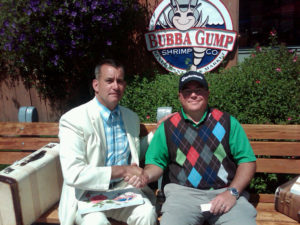"Golf fan Darren Demuth of Oregon meets ""Forrest"" on Cannery Row"