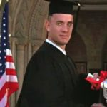 Forrest receives his diploma and graduates from college