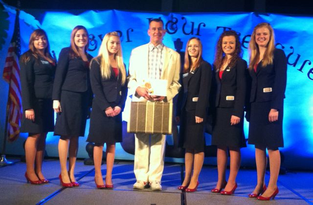 "The 2012-13 Business Profrofessionals of America Montana Association State Officer Team: Nicole Moore, President (Sidney HS); Victoria Hill, Membership (Sidney HS); Ashley Kerkaert, Vice President (Shields Valley HS); ""Forrest""; Hannah Bloomquist, Secretary (Cascade HS); Miranda McNeil, Public Relations (Park City HS); MaKenna Siebenaler, Communications (Glacier HS)."