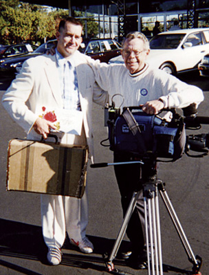 Steve Weber (Actor and Forrest Gump impersonator) takes a break while filming a commercial for Los Gatos Auto Mall with producer Frank