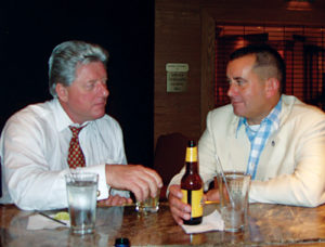 Steve Weber (Forrest Gump lookalike) enjoys a drink with Bill Clinton impersonator Dale Leigh