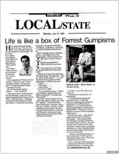 Californian (Salinas, CA) newspaper story featuring Steve Weber as Forrest Gump (July 19, 1997)