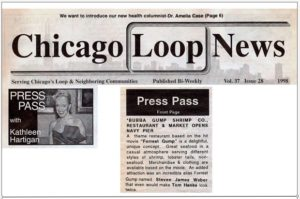 Chicago Loop News Press Pass with Kathleen Hartigan mentioning Steve Weber as Forrest Gump lookalike at Bubba Gump grand opening in Chicago (1998)