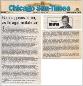 Richard Roeper's column on July 1, 1998 describing 'life imitating art' as Steve Weber appears on Navy Pier as Forrest Gump.