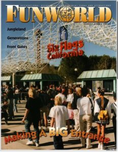 Fun World magazine featuring Steve Weber as Forrest Gump impersonator at Grand Opening of Bubba Gump Shrimp Shack at Kings Dominion (August 1999)
