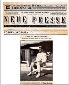 Neue Presse (German newspaper) with feature story  about Steve Weber as Forrest Gump impersonator for Bubba Gump Shrimp (December 11, 1996)