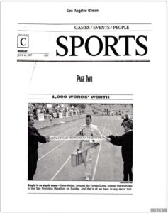 LA Times Sports section photo of Steve Weber crossing the finish line of the San Francisco Marathon dressed as Forrest Gump (July 14, 1997)