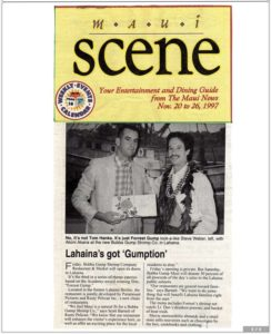 The Maui News & Scene featuring story of Steve Weber as Forrest Gump at Bubba Gump Shrimp opening restaurant in Maui (November 20-26, 1997)