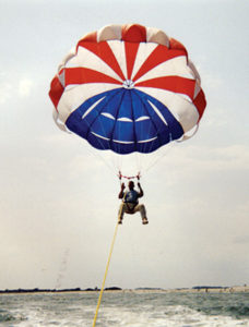 Steve taking a flight on a parasail