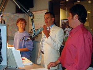 Steve (as Forrest Gump) doing morning drive-time radio