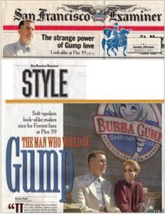 San Francisco Examiner Style section article featuring Steve Weber and his story of becoming Forrest Gump. (March 4, 1997)