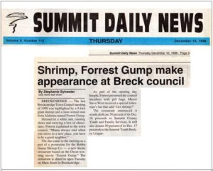 Summit Daily News report on Forrest Gump and Bubba Gump Shrimp making an appearance at Breckenridge City Council Meeting (December 10, 1998)