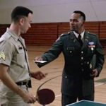 An Army Officer gives Forrest his discarge papers ending his service in the Army and ending his ping-pong days