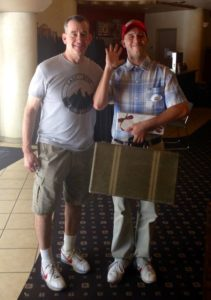 Steve Weber poses with next generation Forrest Gump impersonator Josh Evans in Savannah