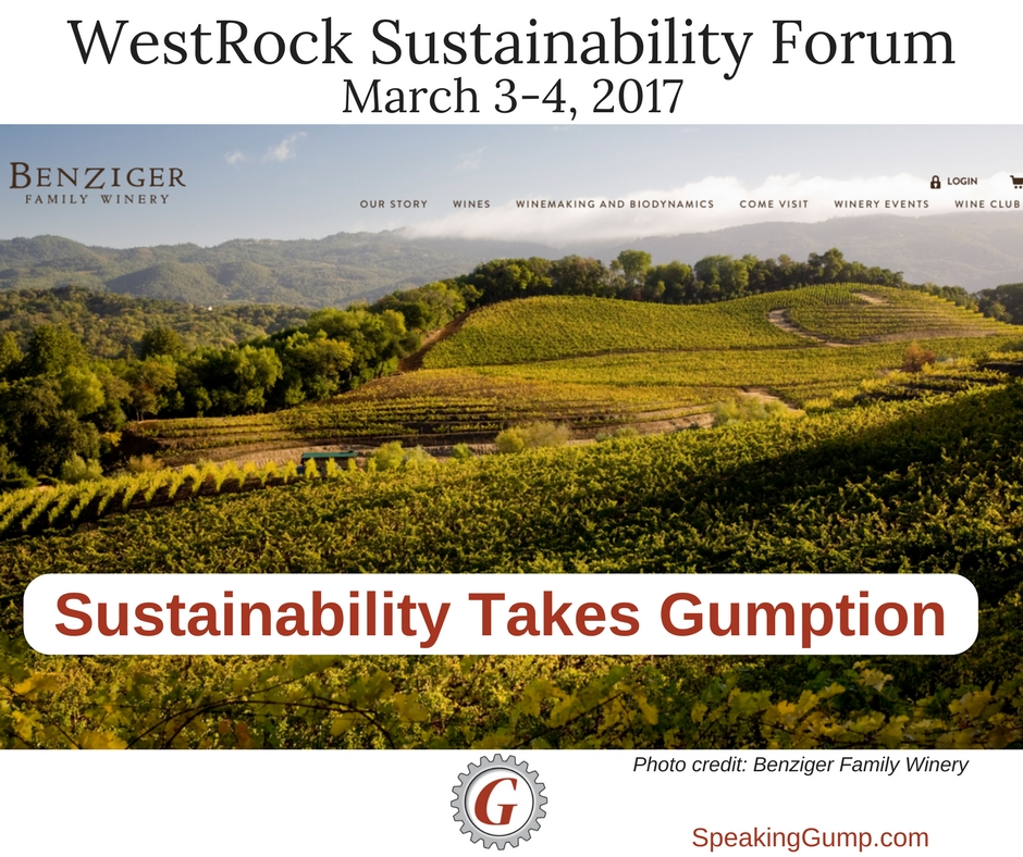 Sustainability takes Gumption - WestRock Forum at Benziger Winery May 3-4, 2017