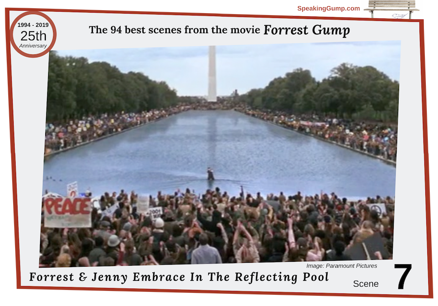 Scene 7 - large image - from the '94 best movie scenes' from the Forrest Gump movie - a tribute to the 25th Anniversary of the movie on July 6, 2019. Jenny recognizes Forrest at the Reflecting Pool in Washington, DC and they have an emotional reunion and embrace.