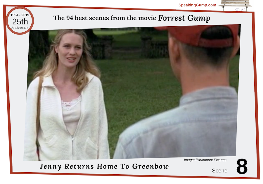 Scene 8 - large image - from the '94 best movie scenes' from the Forrest Gump movie - a tribute to the 25th Anniversary of the movie on July 6, 2019. Jenny returns home to Greenbow - her and Forrest have an emotional embrace.